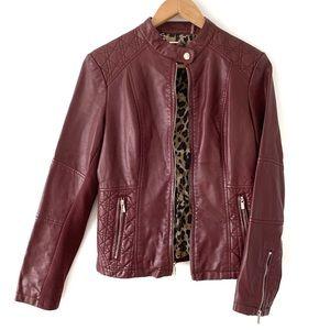 Black Rivet Moto Jacket Vegan Leopard Red